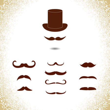 mustaches: Collection of mustaches icons. Gentleman vector icons. Illustration