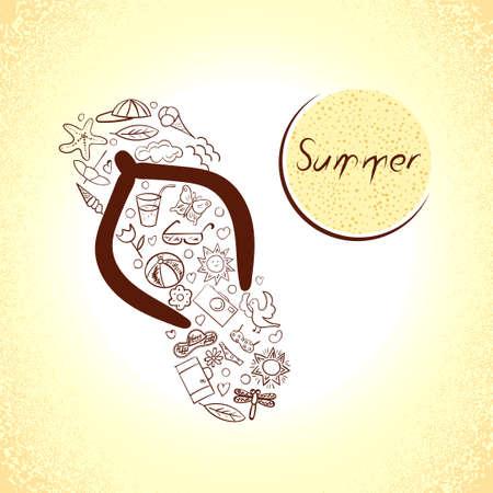 flipflop: Set of summer icons in the shape of flip-flop. Doodle summer symbols. Illustration
