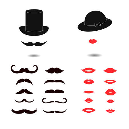 Set of mustaches and lips icons. Lady and gentleman vector illustration.