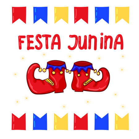 clown shoes: Festa Junina - June Festival, National Brazilian holiday. Red clown shoes and flags, Illustration
