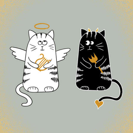 teufel engel: Nette Karikatur-Katzen, Engel und Teufel. Vektor-Illustration.