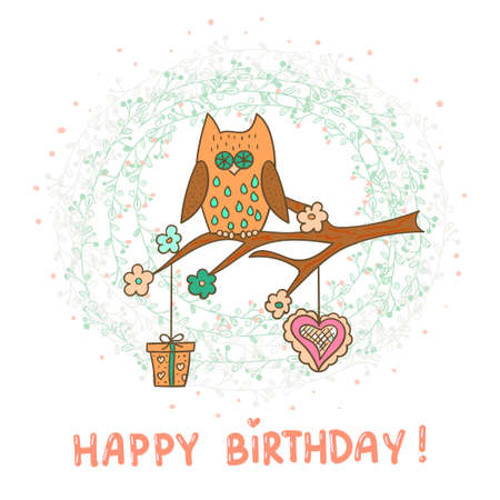 owl vector: Happy birthday card template. Cute cartoon owl. Vector illustration.