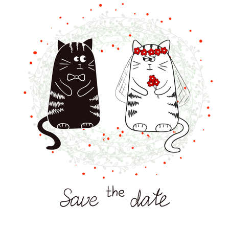 Funny cats, bride and groom. Wedding invitation. Hand drawn vector illustration.