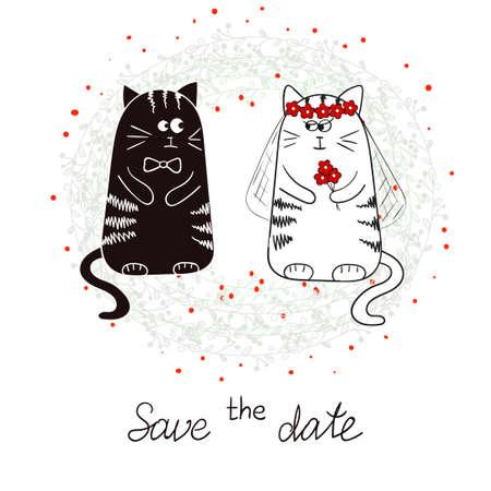 Lustige Katzen, Braut und Bräutigam. Hochzeitseinladung. Hand gezeichnet Vektor-Illustration. Standard-Bild - 52369409