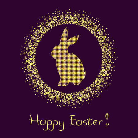 gold silhouette: Elegant Easter frame with beautiful gold silhouette of bunny. Happy easter card. Vector holiday background.