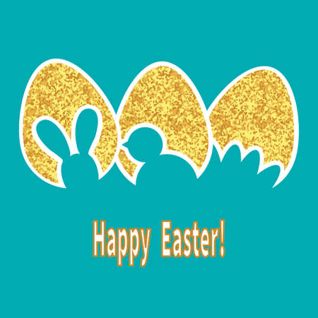 gold eggs: Happy Easter card. Sparkling gold eggs isolated on blue background. Holiday vector illustration.