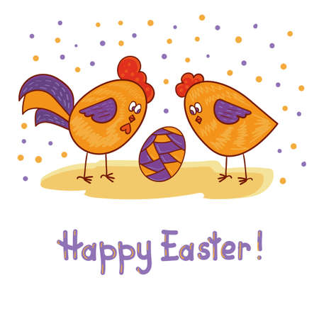 chicken and egg: Happy Easter card with cute rooster, hen and egg. Colorful holiday vector illustration. Illustration