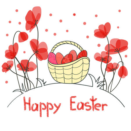 flower white: Happy Easter card with eggs and beautiful red flowers. Doodle holiday vector illustration. Illustration
