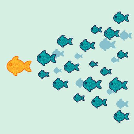 The school of fish. Concept of leadership. Vector illustration. Vetores