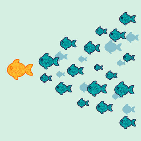 main course: The school of fish. Concept of leadership. Vector illustration.