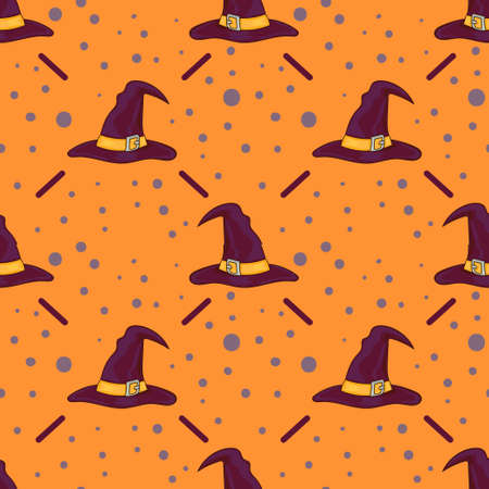 halloween background: Halloween seamless background with cartoon witch hats.