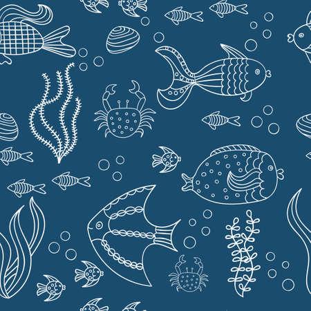 underwater fishes: Marine life, vector illustration. Sea fishes on dark blue backdrop. Underwater background.