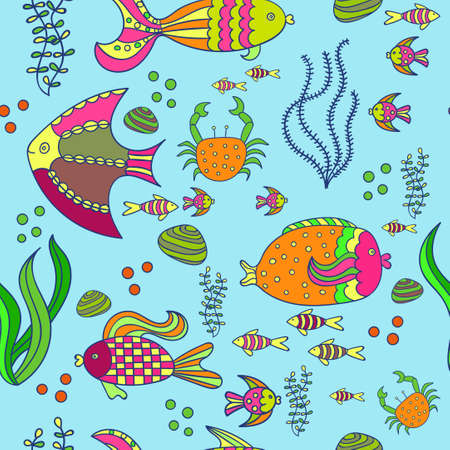 seaweeds: Underwater world in bright colors. Seamless background with sea fishes. Coral reef animals. Hand drawn vector illustration.