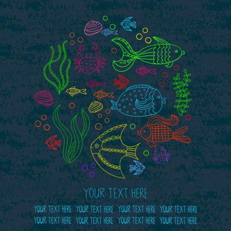 海の魚とラウンドの背景。ベクトルの図。