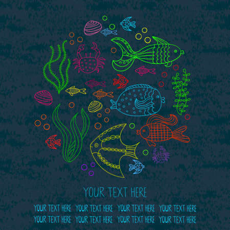 Round background with sea fishes. Vector illustration.