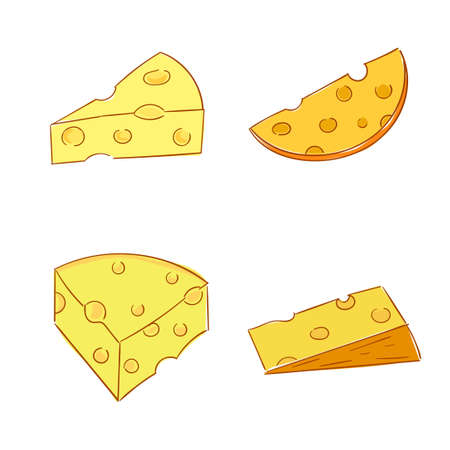 savory: Piece of cheese. Collection of doodle images. Hand drawn vector illustration. Illustration