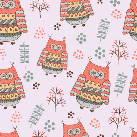 cartoon funny: Seamless background with funny cartoon owls.