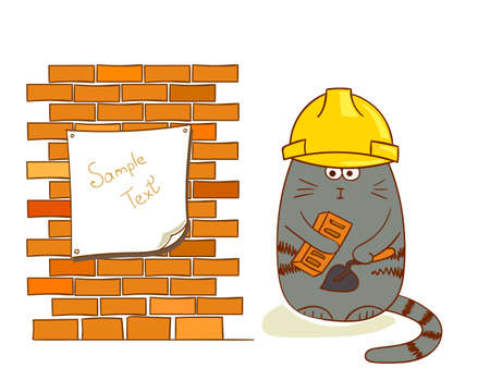 Cartoon cat builder near brick wall. Funny construction worker isolated on white. Bricklayer vector illustration. Çizim