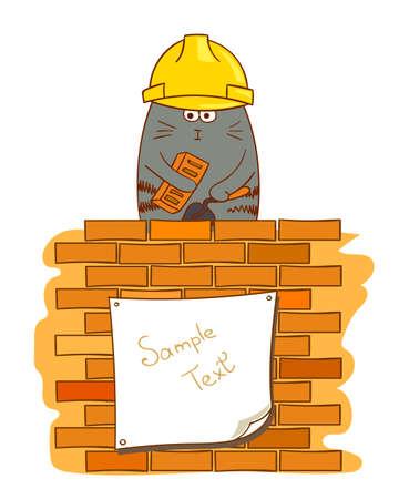 Cartoon cat bricklayer. Funny construction worker near brick wall. Vector illustration.