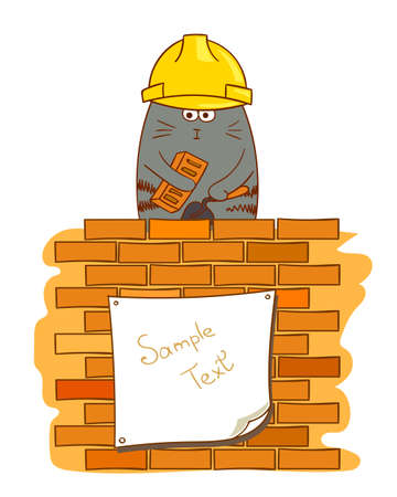construction industry: Cartoon cat bricklayer. Funny construction worker near brick wall. Vector illustration. Illustration