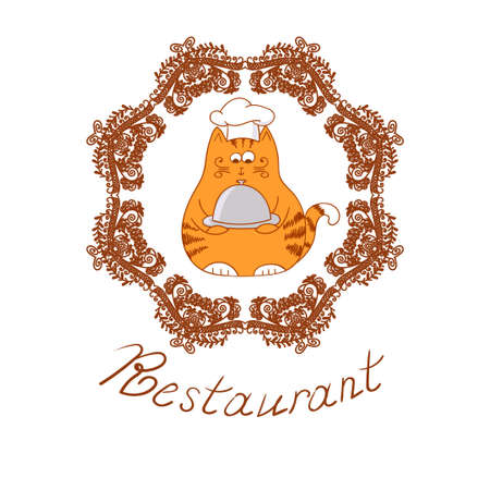 restaraunt: Funny cartoon cat chef. Vector illustration of cook character. Illustration