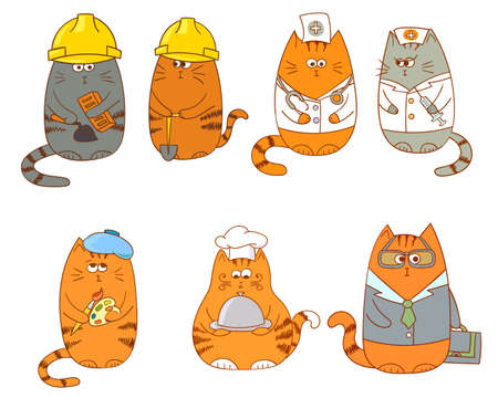construction team: Set of cartoon cat characters. Collection of occupations - construction workers, medical team doctor and nurse, the artict , the cook and the manager.