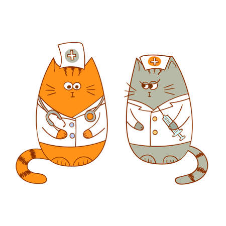 doctor isolated: Cartoon medical team - the doctor and the nurse. Funny cats characters. Vector illustration.