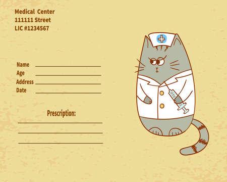 injector: Cute cartoon nurse cat with injector. Vector prescription form. Illustration