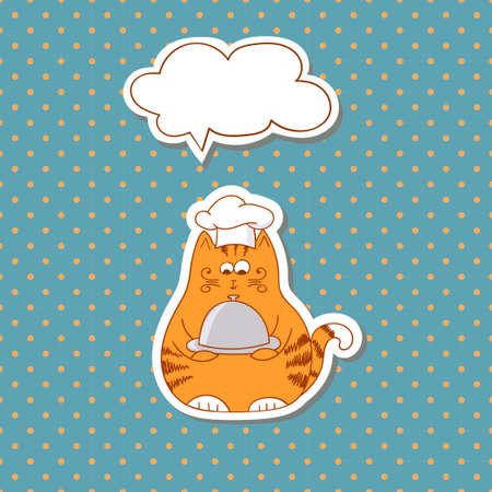 restaraunt: Cartoon cat cook with bubble speech on dots background. Vector illustration. Illustration