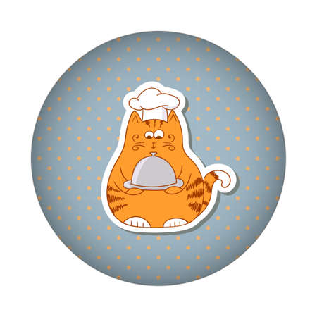 restaraunt: Funny fat cat cook on dots round background. Vector illustration. Illustration