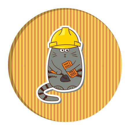 stripped: Funny cartoon cat builder in helmet on stripped background. Colorful vector illustration.