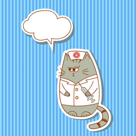 stripped background: Cartoon nurse cat with speech bubble on stripped background. Illustration