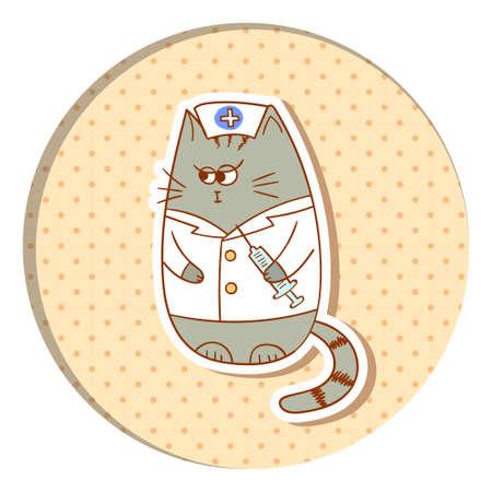 injector: Funny cat nurse on dots background. cartoon vector illustration.