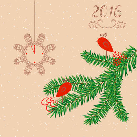 temlate: New Year background. Greeting card. Vector illustration.