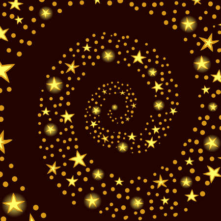 ight: Sparkle background, spiral pattern with golden stars and dots. Vector illustration. Illustration