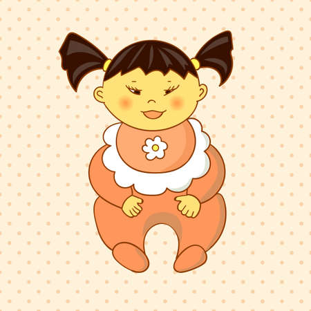 cute baby girls: Cartoon asian baby girl on dots background. Vector illustration