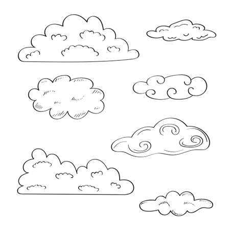 Collection of doodle sketchy clouds. Иллюстрация