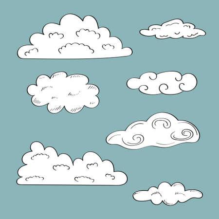 clound: Set of doodle sketchy clound on blue background. Vector illustration. Illustration