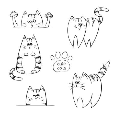 sketchy: Set of doodle funny cats, sketchy vector illustration.