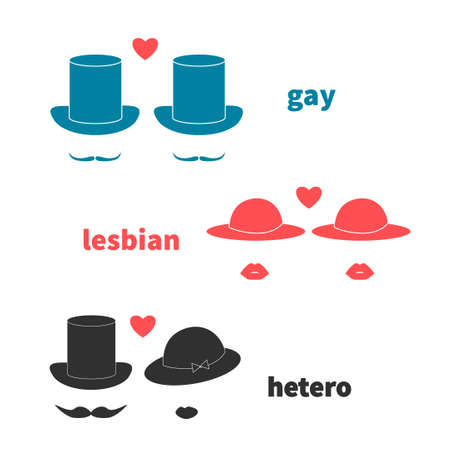 lesbo: Gay, lesbian and hetero love couples. Set of stylish icons, vector illustration. Illustration