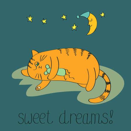 Nette schlafenden Katze. Süße Träume Vektor Hintergrund.