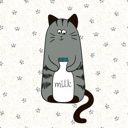 grey cat: Cartoon cute cat with bottle of milk. Doodle vector illustration.