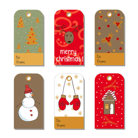 christmas backgrounds: Set of Christmas and New Year tags. Collection of holidays backgrounds. Vector illustrations. Illustration
