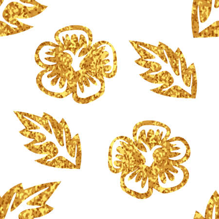 gold floral: Gold floral background. Seamless pattern with leaves and flowers.