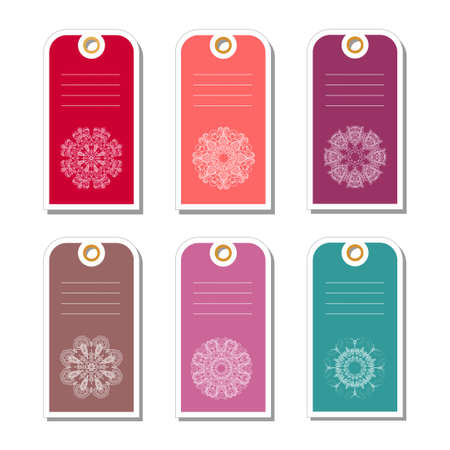 label tag: Set of colorful gift tags with abstract snowflakes.