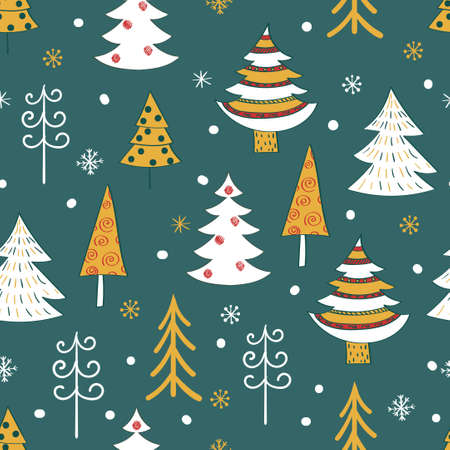 funy: Christmas tree background. Doodle seamless pattern.