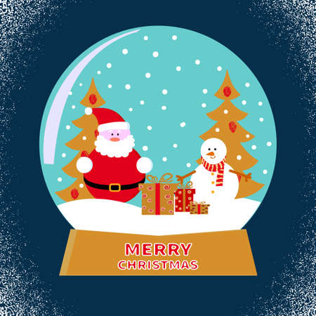 glass ball: Merry Christmas glass ball with Santa and snowman. Vector illustration.