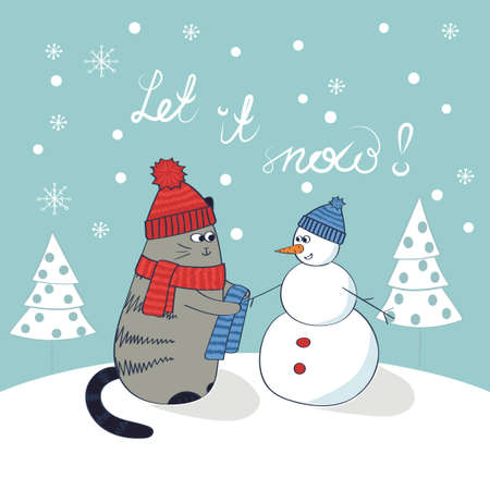 let it snow: Cute cat and snowman. Christmas card template. Let it snow lettering. Doodle winter vector illustration.