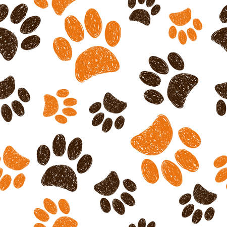 Seamless pattern with doodle animal footprints. Hand drawn cats paws on white background. Stock Illustratie