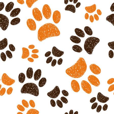 huellas: sin patrón, con huellas de animales del doodle. Dibujado a mano patas de los gatos en el fondo blanco.